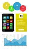 Ui, infographics i sieci elementy wliczając płaskiego d, Zdjęcia Royalty Free