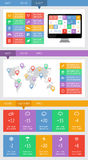 Ui, infographics- och rengöringsdukbeståndsdelar inklusive plan design Arkivfoton