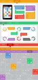 Ui, infographics- och rengöringsdukbeståndsdelar inklusive plan design Royaltyfri Bild