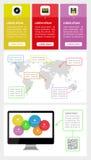 Ui, infographics- och rengöringsdukbeståndsdelar inklusive plant D Royaltyfria Bilder