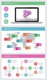 Ui, infographics- och rengöringsdukbeståndsdelar inklusive plant D Arkivbild