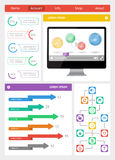 Ui, infographics and web elements including flat d Royalty Free Stock Photography