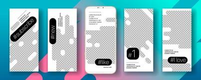 Ui móvel do app do molde social do quadro das histórias dos meios ilustração royalty free