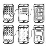 UI mobile app wireframe doodle. UI mobile app wireframe template, doodle style vector illustration