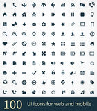 100 UI Outline Icons For Web and Mobile. On the white background Royalty Free Stock Photo