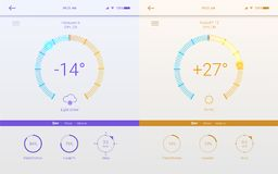 UI of page of weather for mobile app. Template of Winter and Summer layouts for mobile apps. Page of different weather. User interface, 3D illustration. GUI Stock Photos