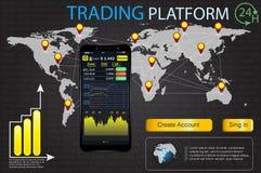 UI para el negocio app Opción comercial del binario del mercado Fije los elementos planos de Infographic del web, mapa, diagramas libre illustration