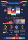 UI sänker designbeståndsdelar för rengöringsduken, Infographics, Arkivbild