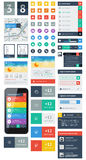 UI is a set components featuring the flat design. UI is a set of beautiful components featuring the flat design trend Stock Photo