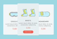 UI for showboarding store. Snowboarding gear shop user interface Royalty Free Stock Images