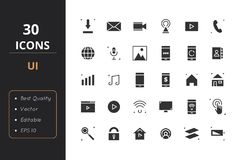30 UI Solid Icons. 30 Solid icons. Icons for ui and web Stock Images