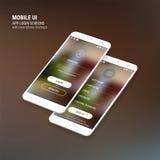 UI teken binnen en Teken op de schermen en 3d Smartphone-modeluitrusting royalty-vrije illustratie