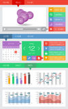 Ui und Netzelemente einschließlich flachen Entwurf Lizenzfreie Stockbilder