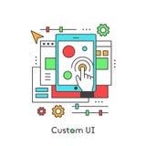 UI UX Custom Design Developing User Experience. User Interface Settings, Modern Vector Icon Style Illustration stock illustration