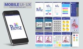 UI, UX en GUI voor Foto die Mobiele Apps uitgeven royalty-vrije illustratie