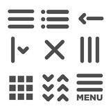 UI and UX Icons for Mobile or Web Applications. Scroll, Grid View, Error, and Location App Icons Royalty Free Stock Image