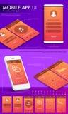 UI-, UX och GUI-mall för mobilen App Arkivbild