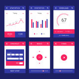UI-, UX- und GUI-Schablonenplan für bewegliches Apps stockbild