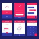 UI-, UX- und GUI-Schablonenplan für bewegliches Apps lizenzfreies stockfoto