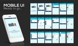UI, UX y GUI móviles para la transferencia monetaria en línea stock de ilustración