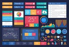 UI vlakke Ontwerpelementen voor Web, Infographics Royalty-vrije Stock Fotografie