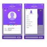 UI wisząca ozdoba app, GUI projekt dla wyczulonej biznesowej strony internetowej lub zastosowania, Strona profilu i krótkiego art Obrazy Royalty Free
