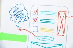 Uiapp ontwerpontwikkeling Plan mobiele toepassing royalty-vrije stock afbeelding