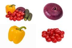 Uien, komkommer, tomaat, peper Stock Foto