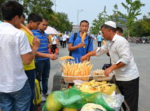 Uighur Melon Seller Stock Photography