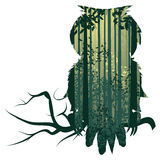 Uil en Abstract Forest Landscape Royalty-vrije Illustratie
