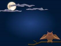 Uil en volle maan Stock Afbeelding