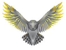 Uil met gouden vleugels stock illustratie