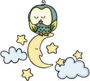 Uil op een maan stock illustratie