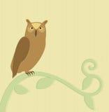 Uil op een tak royalty-vrije illustratie