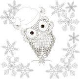 Uil in Santa Claus-hoed, sneeuwvlokken, het kleuren pagina antispanning Stock Foto