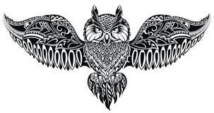 Uil in tatoegeringsstijl stock illustratie