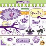 Uil van griezelige Halloween-Inzamelings de Vectorart set bat cat spiders Royalty-vrije Stock Fotografie