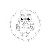 Uil vectorvogels op witte achtergrond royalty-vrije illustratie