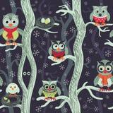 Uilen bij nacht naadloos patroon vector illustratie