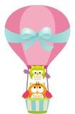 Uilen in een Hete Luchtballon Stock Foto
