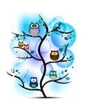 Uilen op een boom worden neergestreken die Stock Foto