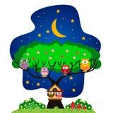 Uilenfamilie in het park bij nacht vector illustratie