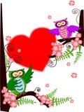 Uilvalentijnskaart Stock Afbeelding