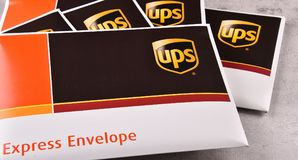 Uinited小包服务或UPS信封  免版税库存照片