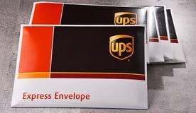 Uinited小包服务或UPS信封  图库摄影