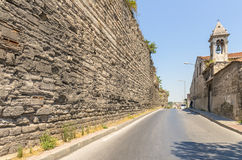 Uins of ancient fortress wall of the Emperor Theodosius in the center of Istanbul. Turkey Stock Photos