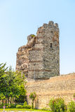 Uins of ancient fortress wall of the Emperor Theodosius in the center of Istanbul. Turkey Royalty Free Stock Photo