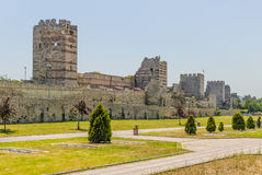 Uins of ancient fortress wall of the Emperor Theodosius in the center of Istanbul. Turkey Stock Image