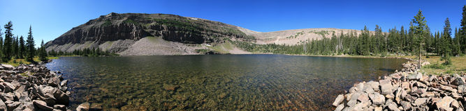 Uinta lake panorama. Panorama of Dean Lake in four lakes basin, Uinta mountains, Utah Stock Photos