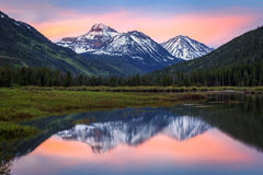 Uinta Mountain Reflection. Sunrise mountain reflection in the Uinta Mountains, Utah USA Stock Photo